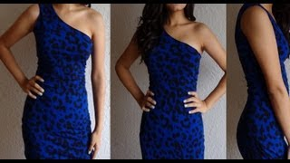 getlinkyoutube.com-Fashion DIY How to make One Shoulder Dress Party Cocktail Dress New Years Eve Clubbing