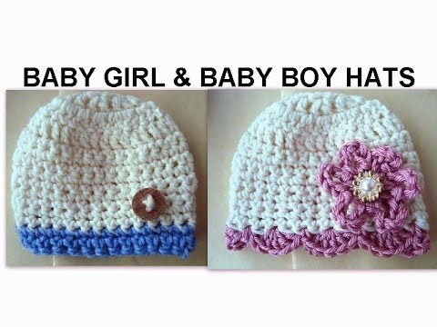 BABY GIRL AND BABY BOY CROCHET HATS, how to diy