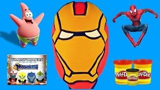 getlinkyoutube.com-GIANT IRON MAN Play Doh Surprise Egg Avengers Spiderman, Spongebob, Transformers, Play Doh, LEGO