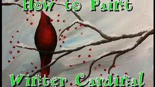 getlinkyoutube.com-Winter Cardinal Step by Step Acrylic Painting on Canvas for Beginners