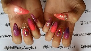 getlinkyoutube.com-Acrylic Nails | Nail Art | Gold Flakes, Coral and Plumb