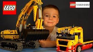getlinkyoutube.com-Lego Technic 8043, 8109. Рабочие Машины для детей, Игрушки Строительная техника, Экскаватор