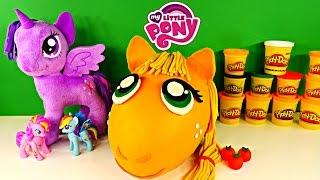 getlinkyoutube.com-GIANT Applejack Play Doh Surprise Egg  My Little Pony Toys Inside! Shopkins Lego Spongebob