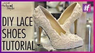 getlinkyoutube.com-DIY Lace Shoes Tutorial | #fame School Of Style