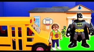 getlinkyoutube.com-Imaginext Nightwing saves Batman From Joker in Superboy Playmobile Dream school Bus