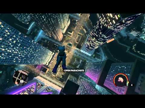 Saints Row 3 - Base Jump from highest building in the game in a cat suit!