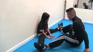 Children's Middle Split Training - Brandon Lee 10 - Angelina 8 - March 23 2016