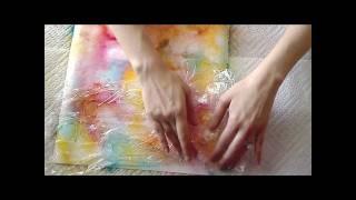 getlinkyoutube.com-Tattered Angles: Glimmer Mist & Saran Cling Wrap Technique
