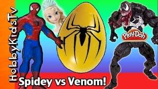 getlinkyoutube.com-Huge SuperHero Surprise Egg! Spiderman + Venom Battle HobbyKidsTV