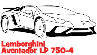 getlinkyoutube.com-How to draw a car Lamborghini Aventador step by step easy drawing for beginners
