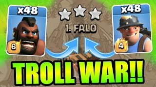 getlinkyoutube.com-Clash Of Clans - INSANE 48 TROOP TROLL WAR!! - ATTACKING THE TOP 2 PLAYERS LIVE!