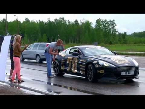 GUMBALL 3000 near Estonia-Latvia border.   Batmobile and other teams;)