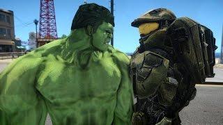 getlinkyoutube.com-Halo Master Chief vs HULK - EPIC BATTLE