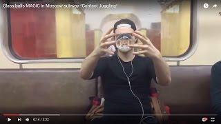 getlinkyoutube.com-Glass balls MAGIC in Moscow subway ^Contact Juggling^