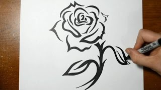 getlinkyoutube.com-How to Draw a Tribal Rose with a Stem Design