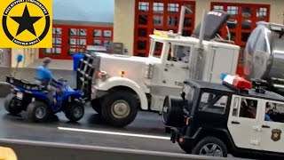 getlinkyoutube.com-BRUDER Toys TRUCKS POLICE Academy Episodes 1-5 LONG PLAY