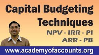 Capital Budgeting Techniques (PB, ARR, NPV, PI & IRR) ~ Financial Management for B.Com/CA/CS/CMA width=