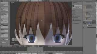 Blender Attempt: Anime hair 01 - pt1 bangs