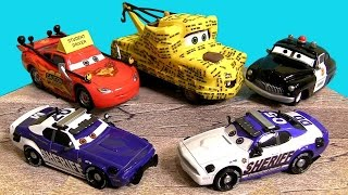 getlinkyoutube.com-CARS TOON To Protect and Serve Diecasts Didi Mike Student Lightning McQueen Mater Disney Pixar