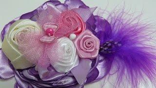 getlinkyoutube.com-Diy Rosas de Liston Gros,  grosgrain flowers  tutorial