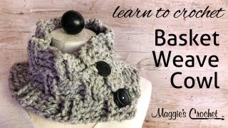getlinkyoutube.com-Basket Weave Cowl Free Crochet Pattern