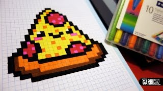 getlinkyoutube.com-Handmade Pixel Art - How To Draw a Kawaii Pizza by Garbi KW #pixelart