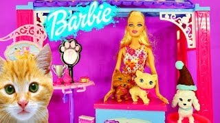 getlinkyoutube.com-How Does Barbie Wash Her Cats and Dogs? Barbies Grooming Pet Boutique Play Doh Toys Review