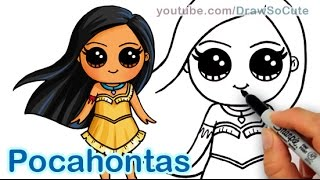 getlinkyoutube.com-How to Draw Disney Princess Pocahontas Cute step by step