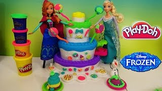 getlinkyoutube.com-Play-Doh Sweet Shoppe Cake Mountain with Queen Elsa Princess Anna and Olaf  from Frozen