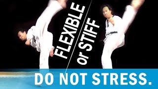 Are you stiff? Variations on Taekwondo high kicks.