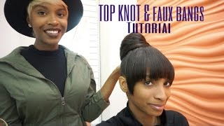 getlinkyoutube.com-Top Knot W/FAUX BANGS | NO GLUE!