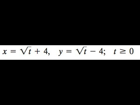 x = sqrt(t) + 4, y = sqrt(t) - 4 find the rectangular equation