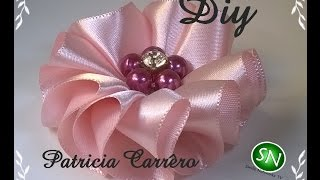 getlinkyoutube.com-Flor de fita ondas Diy \ Ribbon flower waves Diy