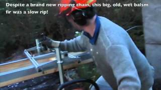"getlinkyoutube.com-Slabbing  Fir with 36"" Alaskan Sawmill"