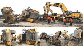 getlinkyoutube.com-Articulated Dump Truck Stuck Recovery By Excavator Komatsu PC800SE