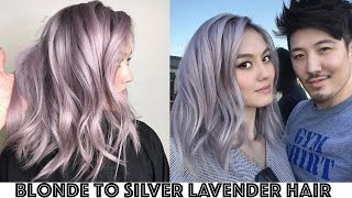 getlinkyoutube.com-Blonde to Silver Lavender Hair Transformation