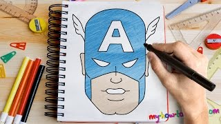 getlinkyoutube.com-How to draw Captain America - Easy step-by-step drawing lessons for kids