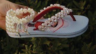 getlinkyoutube.com-Bordado lindo para sandália infantil! Com miçangas de acabamento!