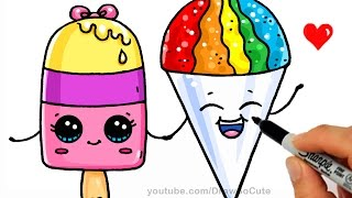 getlinkyoutube.com-Summer Treats - How to Draw a Popsicle and Snow Cone Easy - Cute Cartoon Dessert
