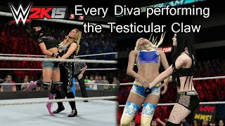 getlinkyoutube.com-WWE 2K15 (PS4) Every Diva Performing the Testicular Claw