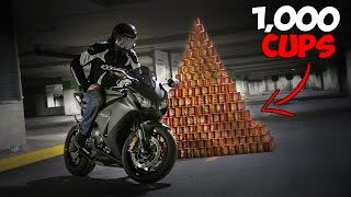 1000 CUPS OF COFFEE vs MOTORCYCLE!! Roll Up The Rim JACKPOT Challenge!