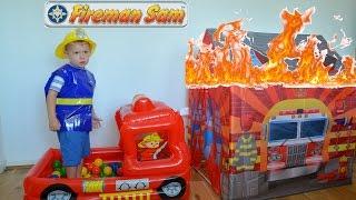 getlinkyoutube.com-Fireman Sam HUGE Fire Rescue Fire engine Ball Pit Toys Feuerwehrmann Sam