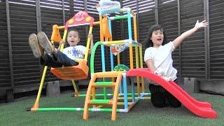 getlinkyoutube.com-アンパンマン おもちゃ ブランコパークDX ジャングルジム 滑り台 付き Anpanma Slide Swing Toy