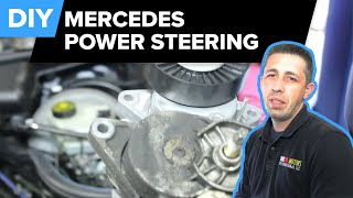 getlinkyoutube.com-Mercedes Power Steering Replacement (Pump, Reservoir, Drive Belt Tensioner - E320) FCP Euro
