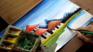getlinkyoutube.com-How to Paint a Village Scenery in Water Color | Drawing Houses, Pond, Distant Trees