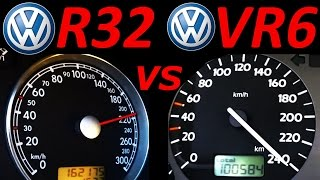 getlinkyoutube.com-VW Golf 3 VR6 vs VW Golf 4 R32 - 0-200 Km/h Acceleration Autobahn compare