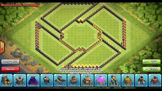 "getlinkyoutube.com-Clash of Clans: New Update 275 walls/murs! Original War/Trophy Base ""Shuriken"" HDV10/TH10"
