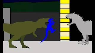 getlinkyoutube.com-Jurassic World - Indominus rex vs T rex and blue