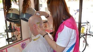 getlinkyoutube.com-Going bald by barber girl