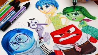 getlinkyoutube.com-INSIDE OUT ☼ Drawing Riley's Emotions ☼ Sadness Fear Joy Anger & Disgust Disney Pixar Speed Art How